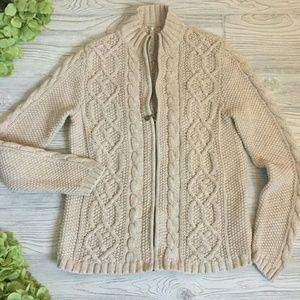 Leo & Nicole Oatmeal Cable knit Cardigan Sweater